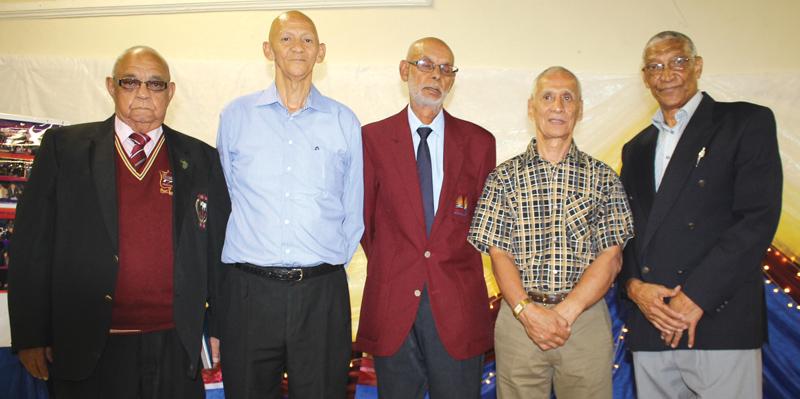 Die Vollie-museumkomitee is van links George Piedt, David Piedt, Claude Simon, Farouk Wicomb en Johan Benson. Die sesde lid van die komitee, Stephen Adams, is onlangs oorlede. Foto: Garnett Wicomb