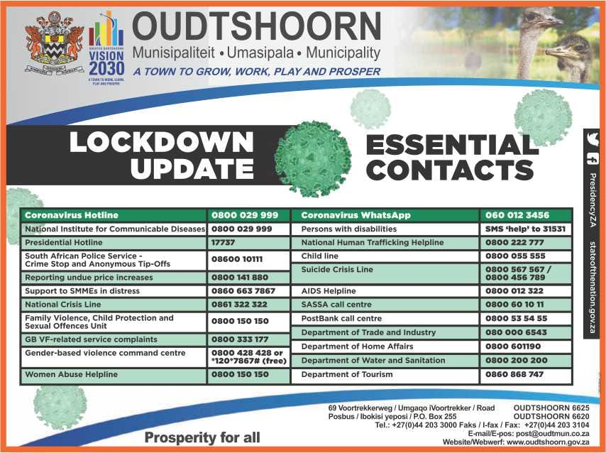Essential contacts for Oudtshoorn Municipality during COVID-19 lockdown