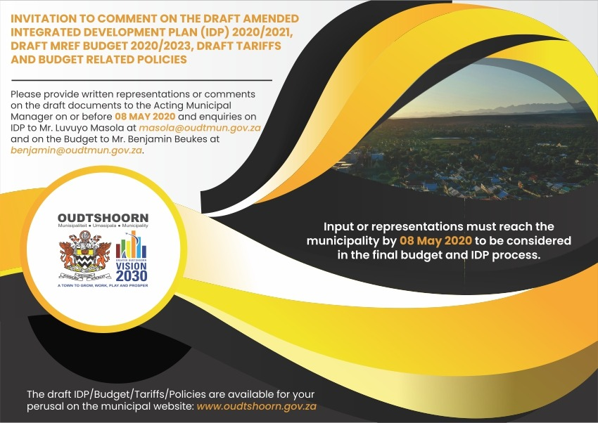 Invitation to comment on the draft IDP / Budget / Tariffs / Policies before 08 May 2020.